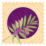 Greeting card with leaves and border. Frame, Postage Stamp Stock Images