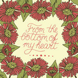 Greeting card with lettering From the bottom of my heart Stock Images