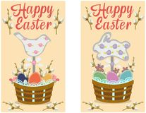 Greeting card with lettering and the Easter symbols. Vector illustration. Vector Greeting Easter card with inscription, branches of willow, figurines and eggs in Royalty Free Stock Image