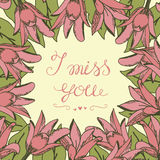 Greeting card with lettering I miss you. Wedding. Floral background. Poster. Valentine s day vector illustration