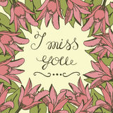 Greeting card with lettering I miss you. Wedding. Floral background. Poster. Valentine s day royalty free illustration
