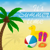 Greeting card with lettering. Summer vacation banner design. Palm tree, beachball and flying disk on a sea beach. Summertime greeting card with lettering Royalty Free Stock Photos