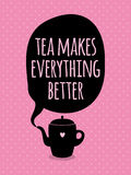 Greeting card. Lettering. Tea time. Royalty Free Stock Photography