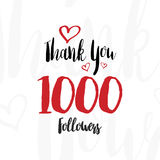 Greeting card with the lettering. Thank you for 1000 followers calligraphic inscription. Flat  illustration EPS 10.  Stock Photography