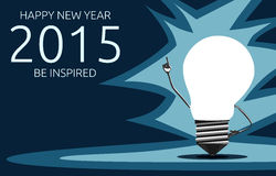 Greeting card with light bulb character, 2015 year. Happy New Year 2015 and be inspired greeting card with glowing light bulb character in moment of insight Stock Photo