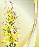 Greeting card with lilies. On the yellow-gold background Royalty Free Stock Images