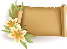 Greeting card with lilies and scroll - horizontal Stock Photos
