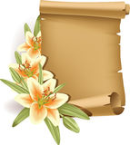 Greeting card with lilies and scroll - vertical Stock Photography