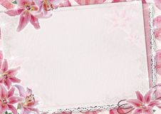 Greeting card with lily and lace Stock Image