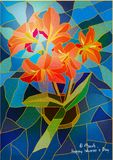 Greeting card lily stained-glass window. Colorful Stock Image