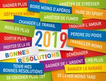 Greeting card 2019 with a list of good resolutions written on color labels stock illustration