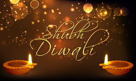 Greeting card with lit lamps for Happy Diwali. Royalty Free Stock Images