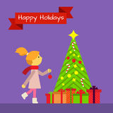 Greeting card with little girl and New Year tree Royalty Free Stock Images