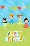 Greeting card with little girls. Birthday party invitation Stock Photography