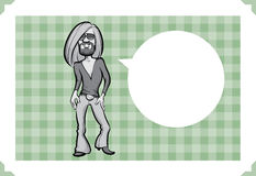 Greeting card with long haired man. Sarcastic meme layered vector illustration. Personalize it with your own humorous message Stock Photo