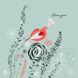 Greeting card with a love bird Stock Photos