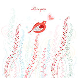 Greeting card with a love bird Royalty Free Stock Image