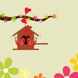Greeting card with love birds Stock Photography