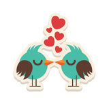 Greeting card love birds kissing happy Valentine Day vector illustration. Pattern design. Flyer or invitation Stock Photos