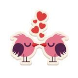 Greeting card love birds kissing happy Valentine Day vector illustration. Pattern design. Flyer or invitation Stock Photos