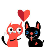 Greeting card with love cat and dog Stock Photography