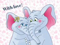 Greeting card with love. Lovers elephants on a Stock Photos