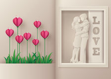 Greeting card of love and Valentine`s Day. Royalty Free Stock Photo