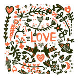 Greeting card with love for wedding Stock Images