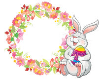Greeting card with lovely easter bunny and spring flower frame Royalty Free Stock Photo