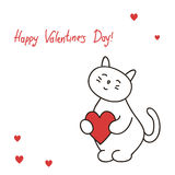 Greeting card Lovely kitty holds heart for the day St. Valentine Royalty Free Stock Photo