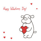Greeting card Lovely puppy holds heart for the day St. Valentine Royalty Free Stock Photos