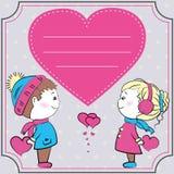 Greeting card, loving couple holding hearts Stock Image