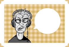 Greeting card with mad geek in headphones. Sarcastic meme layered vector illustration. Personalize it with your own humorous message Stock Photos