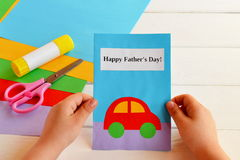 Greeting card made by a kid. stock photos