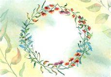 Greeting card made of watercolor flowers. Stock Photography
