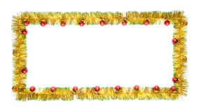 Greeting card made of yellow and green tinsel frame with red christmas balls. New year greeting card made of yellow and green tinsel frame with red christmas Stock Image