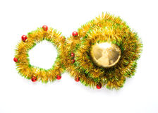 Greeting card made of yellow and green tinsel frame with red christmas balls Royalty Free Stock Photography