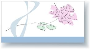 Greeting card for on March 8. This elegant card is designed for congratulation of stylish women  with good taste. The stylized image of a rose is located on the Stock Image
