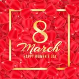 Greeting card for 8 March on a background of rose petals. Poster for Happy Womens Day. Rose petals and gold frame and text. Vector. Illustration. EPS 10 stock illustration