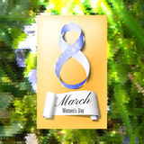 Greeting card for 8 March with banner and symbol of blue ribbon. International Womens Day. Polygonal vector design.  Stock Image