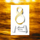 Greeting card for 8 March with banner and symbol of golden ribbon. International Women's Day. Polygonal vector design.  Royalty Free Stock Image