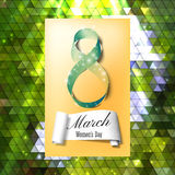 Greeting card for 8 March with banner and symbol of green ribbon. International Women's Day. Polygonal vector design.  Stock Photo