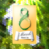 Greeting card for 8 March with banner and symbol of green ribbon. International Womens Day. Polygonal vector design.  Stock Photo
