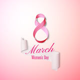 Greeting card for 8 March with banner and symbol of pink ribbon. International Womens Day. Vector illustration Royalty Free Stock Images