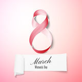 Greeting card for 8 March with banner and symbol of pink ribbon. International Womens Day. Vector illustration Royalty Free Stock Photography