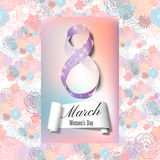 Greeting card for 8 March with banner and symbol of violet ribbon. International Women's Day. Floral vector design Stock Photos
