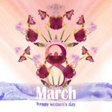 Greeting Card for March 8 with a bouquet of irises and watercolor textures Stock Images