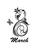 Greeting card for 8 March with decorative number 8. Black and white. Greeting black and white card for 8 March with decorative number 8 Stock Image