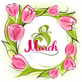 Greeting card 8 March. With decorative tulips vector illustration
