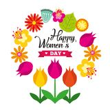 Greeting card with 8 March. Happy. International womens day. Vector frame with spring flowers and ribbon Royalty Free Stock Photos